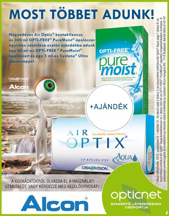 PureMoist lencseápoló és Air Optix Aqua kontaktlencse csomag ajándékkal