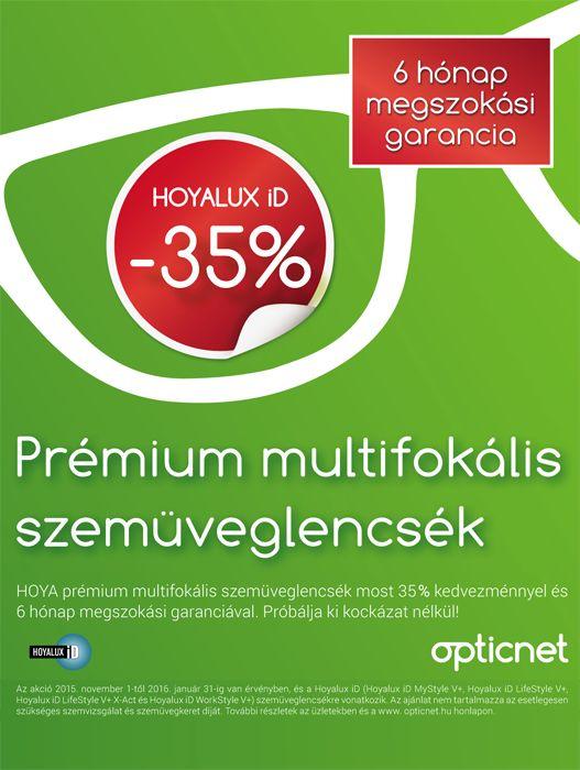 prémium multifokális lencsék 35% kedvezményel és megszokási garanciával
