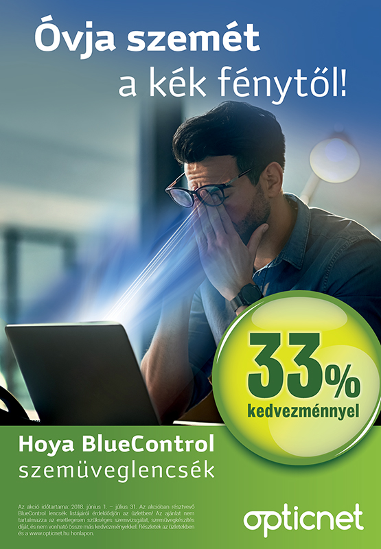 Hoya BlueControl réteggel ellátott szemüveglencsék 33% kedvezménnyel