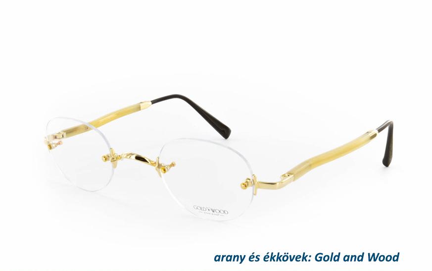 arany és ékköves szemüvegkeret Gold and Wood